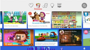 Capture écrans de l'application YouTube Kids